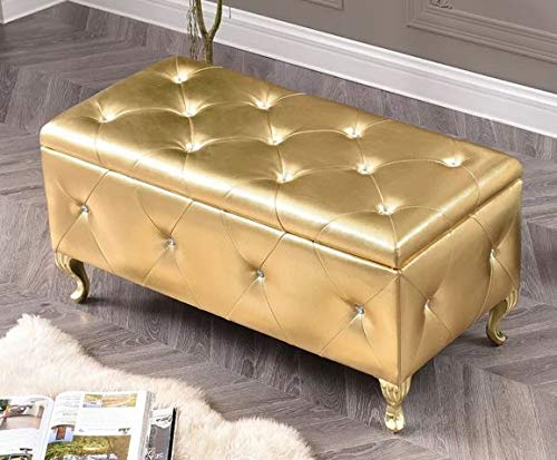 End of Bed Storage Bench-Bedroom Benches at Foot of Bed- Gold Crystal Tufted Faux Leather Painted Wooden Legs - Stylish Solution for Your Storage Needs