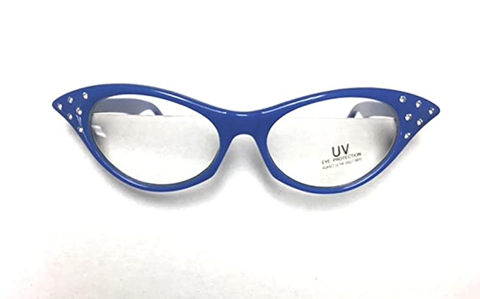 bcbe27bb8cc Image Unavailable. Image not available for. Color  Blue 1950 s Cateye Cat  Eye Glasses with Rhinestones Clear Lens Sunglasses