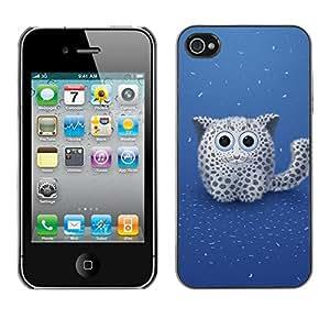 PC/Aluminum Funda Carcasa protectora para Apple Iphone 4 / 4S Cute Snow Panther / JUSTGO PHONE PROTECTOR
