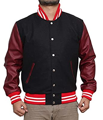 Louis Marco Men's Black & Red Bomber Letterman Jacket