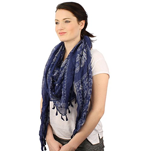 (Soft Square Paisely Bandana Print Tassel Scarf Wrap Shawl Cover Up Tie Loop)