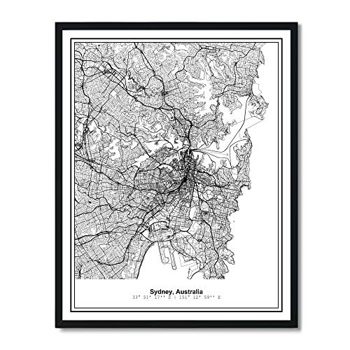 (Susie Arts 11X14 Unframed Sydney Australia Metropolitan City View Abstract Street Map Art Print Poster Wall Decor V299)