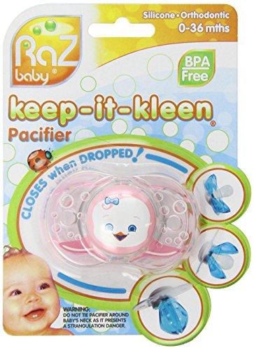 RazBaby Keep-It-Kleen Pacifier, Rosa Penguin, 0-36 mois