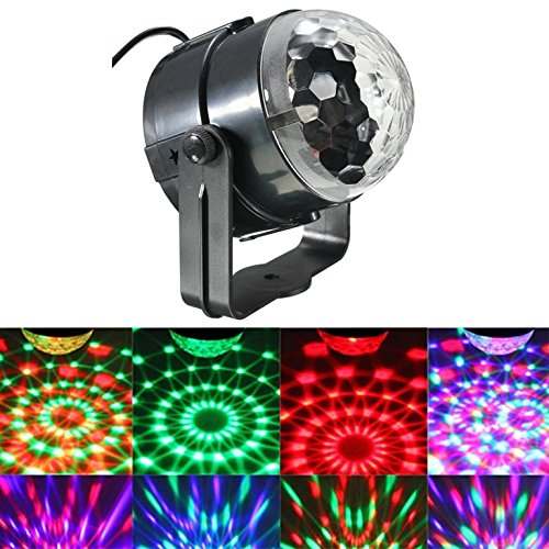 JIAFENG Mini Disco DJ Stage Lights, Sound Activated Led RGB Strobe Crystal Magic Rotating Ball Stage Lights For KTV Xmas Party Wedding Show Club Pub (1 Pack) - 1 Watt Handheld Laser