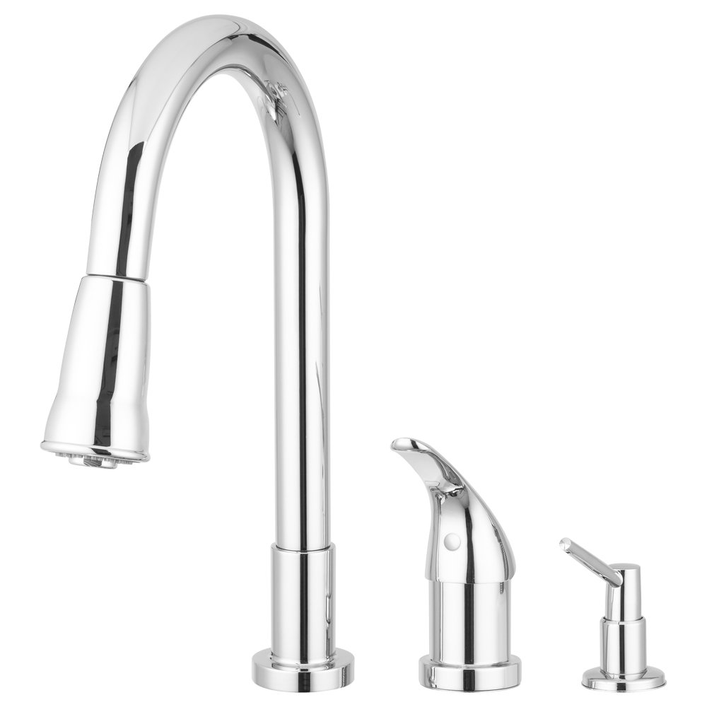 Grandview Pull Down Kitchen Faucet Gooseneck Style by Pacific Bay (Chrome) – This Beautiful Upgrade Features a Side Single Lever Controls, and a Soap Dispenser