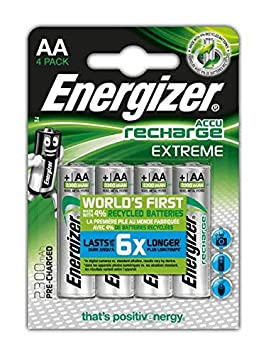 Energizer HR06 - Pack de 4 pilas recargables, color negro