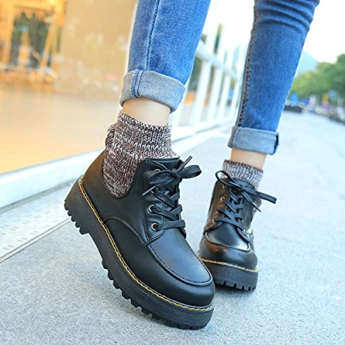 Black Round Horseshoe Shoes Tube Heel Autumn Boots With Flat Fashion Short Rubber Boots Head Martin qFwEx6aA