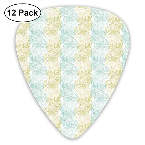 Guitar Picks 12-Pack,Line Art Green And Blue Soft Pastel Flowers Motif English Garden (Line Art Pig)