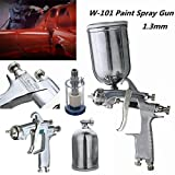 W101 HVLP 1.3mm Tip Paint Spray Gun Gravity Feed Base Coat Sprayer with Filter