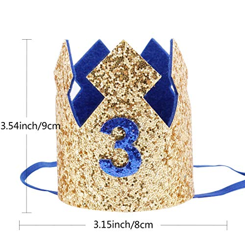 Baby Girls Kids Gold Glitter Birthday Crown Headband 3rd Birthday Hats for Photo Prop Costumes Party Favors(Gold-Blue-3)