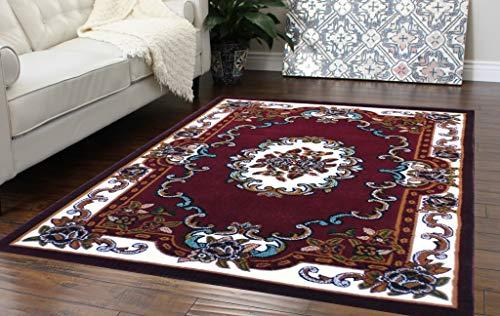 Burgundy Oriental Hearth Rugs - Traditional Classic Area Rug Design Kingdom 121 Burgundy (8 Feet X 10 Feet)
