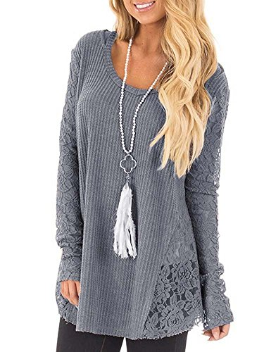 Klousilover Womens Casual Lace Blouses Long Sleeve Knit T Shirts Loose Tunics Top