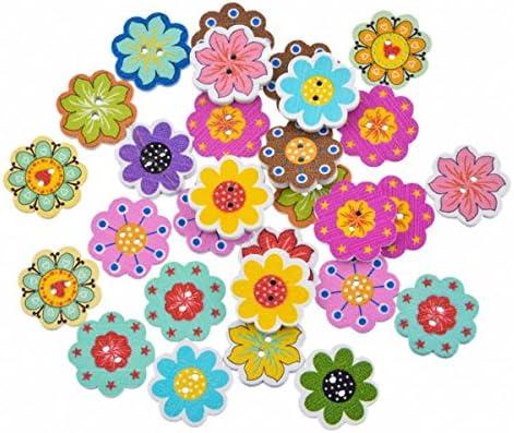 HooAMI 木製 ボタン 裁縫 カラフル ボタン 手芸 ウッドボタン 可愛い 飾り 花柄プリント 2穴 20x19mm 50個