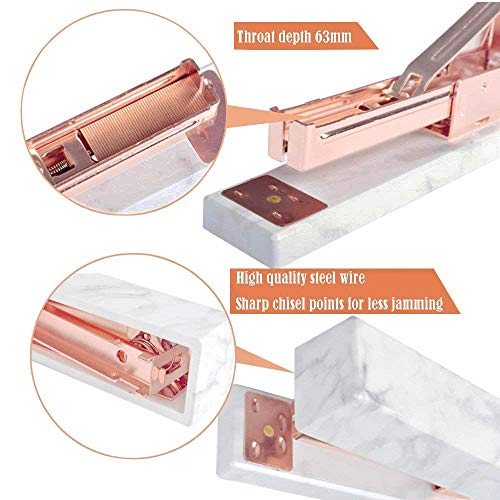 Desk Stapler Marble Printing, Rose Gold Tone Metal Stapler with Non-Slip Base-High Capacity,Heavy Duty Manual Staplers with 2 Boxes of Staples- School & Office Accessories Supplies by mebeaty (Image #2)
