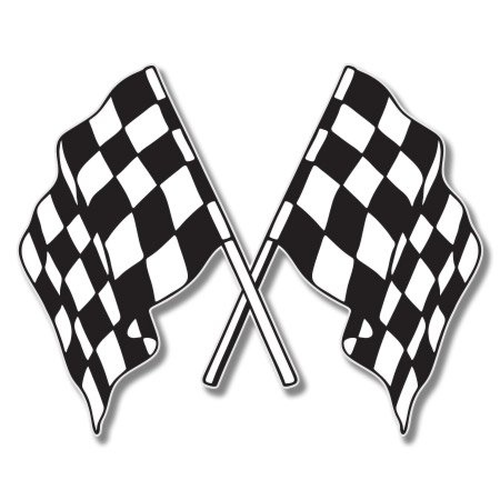 Checkered Flags Racing Vinyl Sticker - Car Phone Helmet - SELECT SIZE