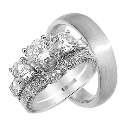 a693acee1703de LaRaso & Co His and Hers Wedding Ring Set Matching Bands for Him and Her (