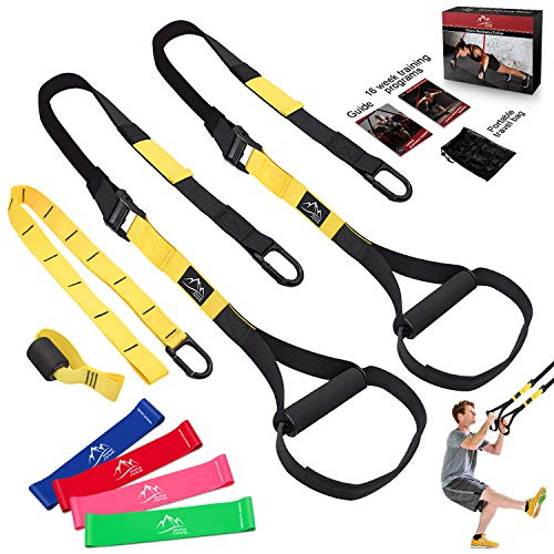 Bodyweight Resistance Training Straps, JDDZ Complete Home Gym Fitness Trainer kit for Full-Body Workout, Included Door Anchor, Extension Strap, 16 Week Program, Fitness Guide and 4 Exercise Loop ()