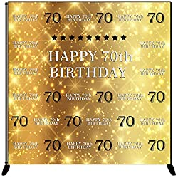Mehofoto Happy 70th Birthday Backdrop Gold Silver Step Repeat Birthday Photography Background 8x8ft Vinyl 70th Birthday Party Banner, Party Decoration Supplies