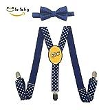 Xiacai Summer Sushi Suspender&Bow Tie Set Adjustable Clip-On Y-Suspender Children