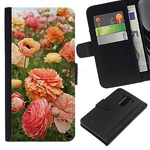 Flores Rosa Naranja Amarillo- la tarjeta de Crédito Slots PU Funda de cuero Monedero caso cubierta de piel Para LG G3