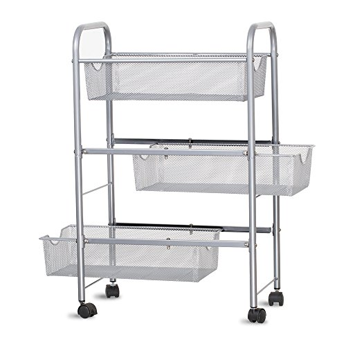 - NEX 3-Tier Rolling Cart, Mesh Baskets Utility Shelf For Kitchen Bathroom Living Room Bedroom Garage