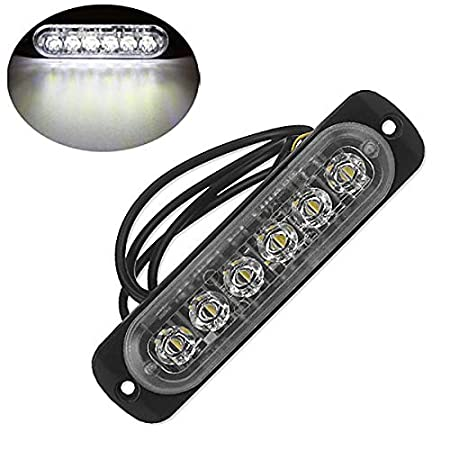 Sothat 12V-24V 6LED Luce Flash Emergenza Veicolo Auto Strobe Lampeggiante Bianco