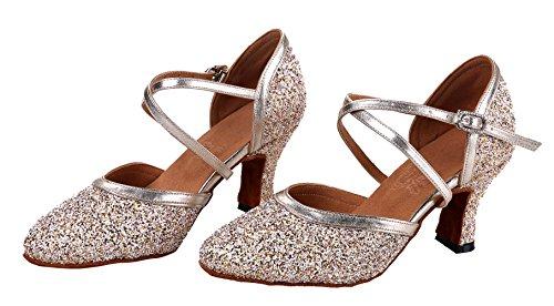 Femmes Honeystore Criss Croix Boucle Sequin Paillettes Chaussures De Danse Champagne