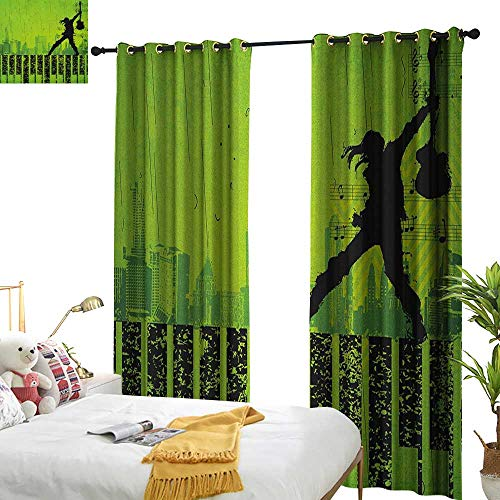 WinfreyDecor Simple Curtain Popstar Party Music in The City Theme Singer with Electric Guitar on Grunge Backdrop Darkening and Thermal Insulating W96 x L108 Lime Green -