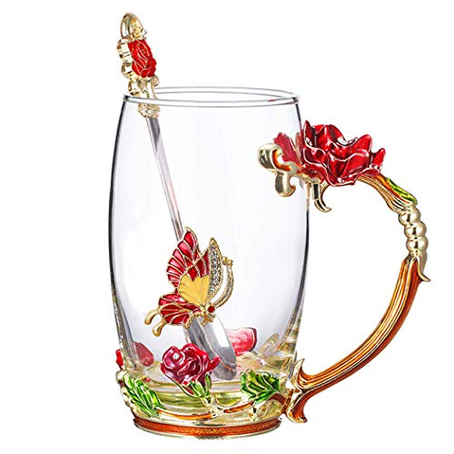 (Lilyss Tea Cups Coffee Mug with Spoon for Women Girls, Crystal Glass Rose Flower Design Handmade Enamel Beautiful Coffee Tea Cup Set - Gift for Mom Wife Girlfriend Sisters Coworker (Red-Tall))