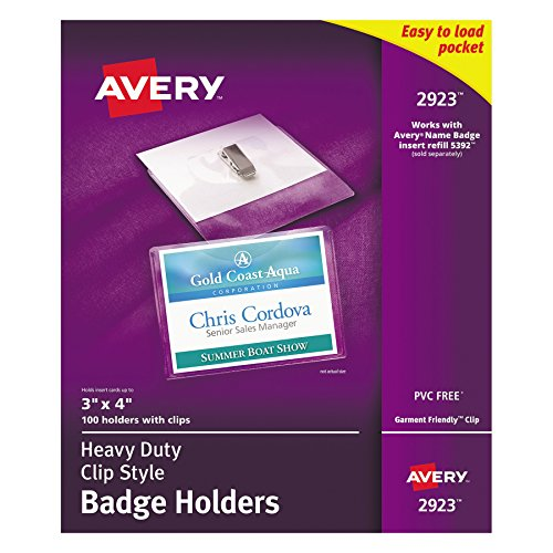 Avery Clear Heavy-Duty Clip Style Landscape Badge Holders, 3 x 4, Box of 100 -