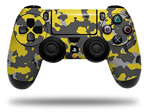 Vinyl Skin Wrap for Sony PS4 Dualshock Controller WraptorCamo Old School Camouflage Camo Yellow (CONTROLLER NOT ()