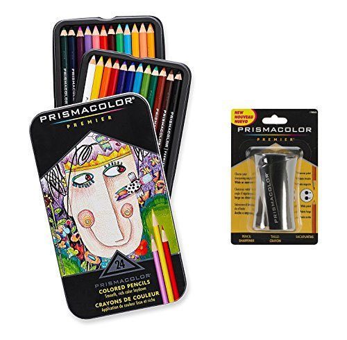 Prismacolor Premier Colored Pencils, Colored Pencils and Sharpener AgyyXA, 4Pack (24 Count) by Prismacolor