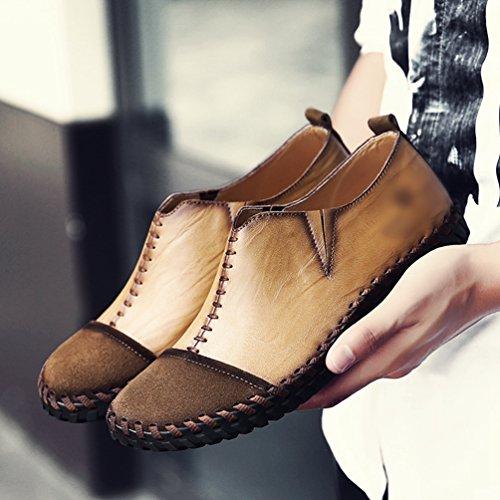 Yiiquan casual pelle Mocassini PU liscia loafers Tonda Uomo di Cachi Giuntura Punta scarpe PrPwq0a
