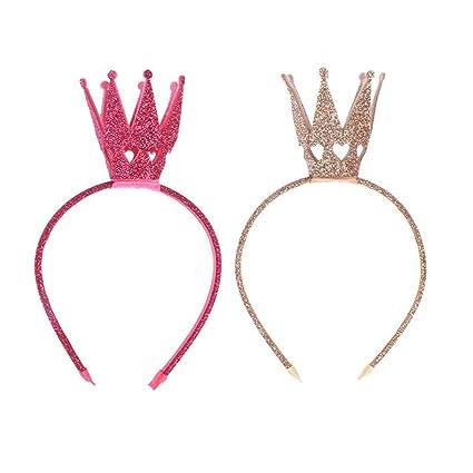 Amosfun Brillante diadema con corona Princesa Chica Crown ...