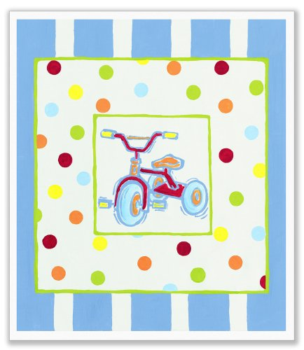The Kids Room by Stupell Tricycle with Polka Dots and Blue Stripes Rectangle Wall (Trike Canvas)