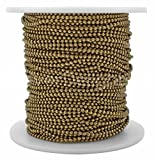 CleverDelights Ball Chain Spool - 100 Feet - 1.5mm Ball (Small) - Antique Bronze Color - Bulk Roll