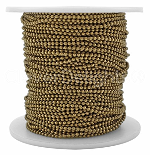 (CleverDelights Ball Chain Spool - 100 Feet - 1.5mm Ball (Small) - Antique Bronze Color - Bulk Roll)