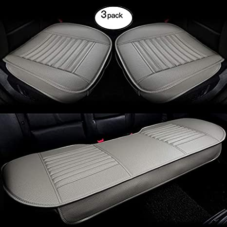 HCMAX Four Seasons Breathable Car Interior Seat Cushion Cover Edge Wrapping Pad Mat for Auto Car Supplies PU Leather Bamboo Charcoal Black 2 Pack