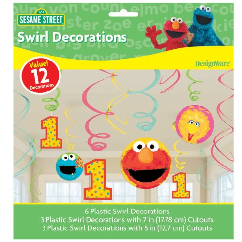 Sesame Street Birthday Decoration Ideas (Sesame Street 1st Birthday - Swirl Decorations (12))