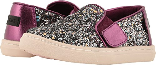 TOMS Kids Baby Girl's Luca (Infant/Toddler/Little Kid) Plum Party Glitter/Metallic Canvas Mix 9 M US Toddler -