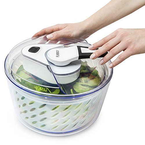Large Salad Spinner Lettuce Dryer - Easy Spin Salad Spinner Large Vegetable Washer - Manual Salad spinner - Vegetable Dryer - Veggie Spinner Dry Salad Spinner By Fullstar