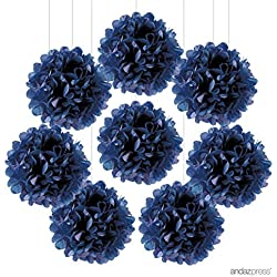 Andaz Press Tissue Paper Pom Poms Hanging Decorations, Navy Blue, 6-inch, 8-Pack, Colored Birthday Party Supplies