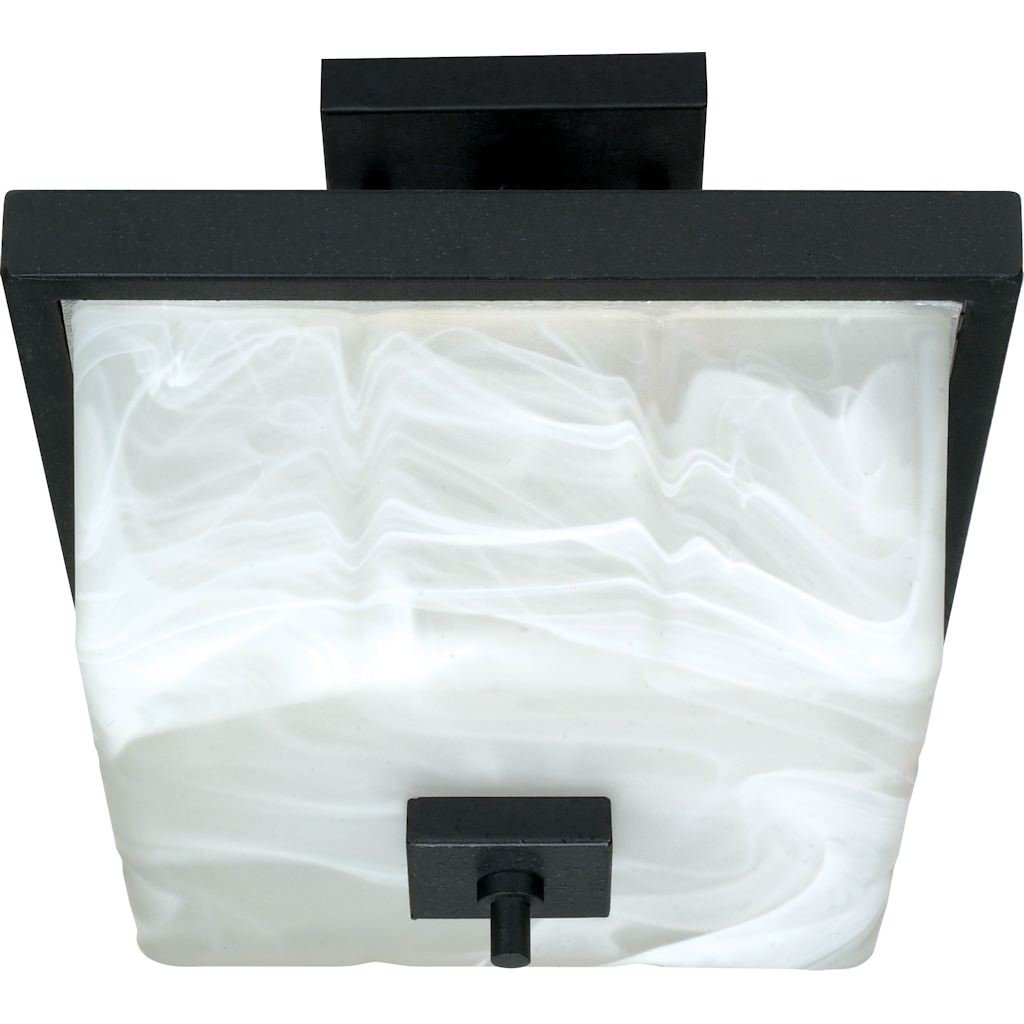 Nuvo 60/002 Semi-Flush Dome with Alabaster Glass, Textured Black