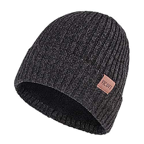 (VICOVI Winter Knit Beanie Hats for Men and Women Warm Fleece Stretch Slouchy Skull Cap Dark Grey)