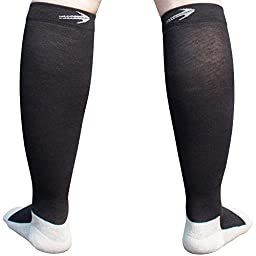 CompressionZ Below Knee High Compression Socks (1 Pair), 20-30mmHg, Large - Black