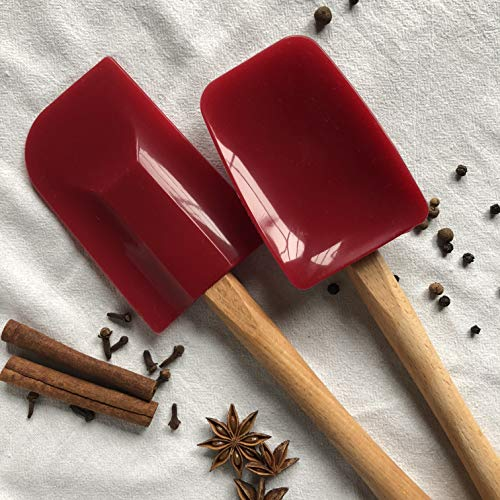 Heirloom Living Ultra-Pure Silicone Jumbo Spatula and Spoonula Set - Wooden Handle - Made in the USA (Firecracker Red)
