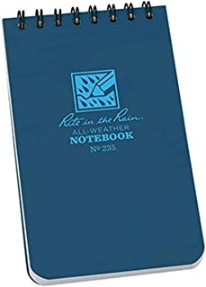 """product image for Rite in the Rain Weatherproof Notepad, 3"""" x 5"""" Top Spiral, Universal Page Pattern, Blue Cover (No. 235)"""
