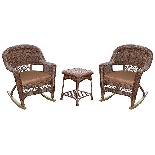 (Jeco W00205R-C_2-RCES007 3 Piece Rocker Wicker Chair Set with Brown Cushion,)