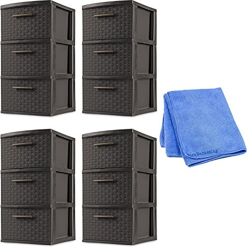 Sterilite 26306P02 Decorative 3-Drawer Storage Weave Tower, Espresso, Set of 4 with Dusting Cloth by STÈRILITE