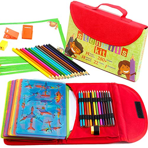 Art with smile Drawing Stencils for Kids Kit & Carry Case - - Child-Safe, Non-Toxic Stencil Set with 280+ Shapes, Colored Pencils, Paper, Etc. - Travel Art Supplies for Creativity, Learning, Fun